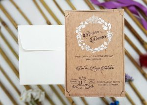 Liva Ecolive 7027, Beyaz Çiçek Demetli Davetiye