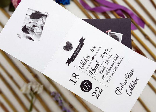 Liva Ecolive 7036, Siyah Zeminli Fotoğraflı Davetiye