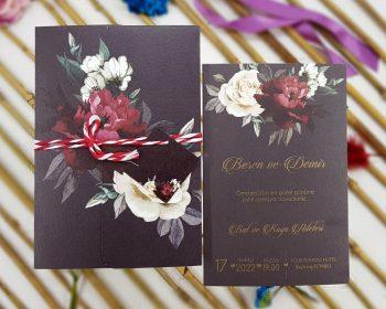 Liva Ecolive 7049, Kırmızı, Beyaz Güllü Çiçekli Davetiye