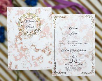 Liva Ecolive 7054, Rose Gold Mermer Zeminli Davetiye