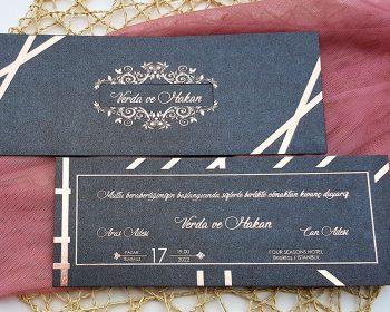Liva Davetiye 6103, Bakır Yaldızlı Siyah davetiye