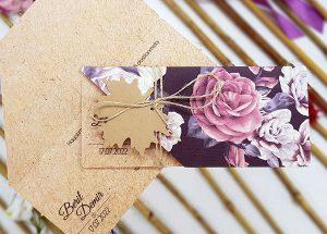 Ecolive 7228, Özel Kesim Çiçek Desenli Davetiye
