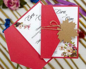 Ecolive 7237, Üçgen Kapaklı Çiçekli Davetiye